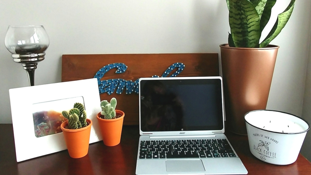Workspace, Snake Plant, Cacti, Candle, Laptop, String Art, Hurricane Candle Holder