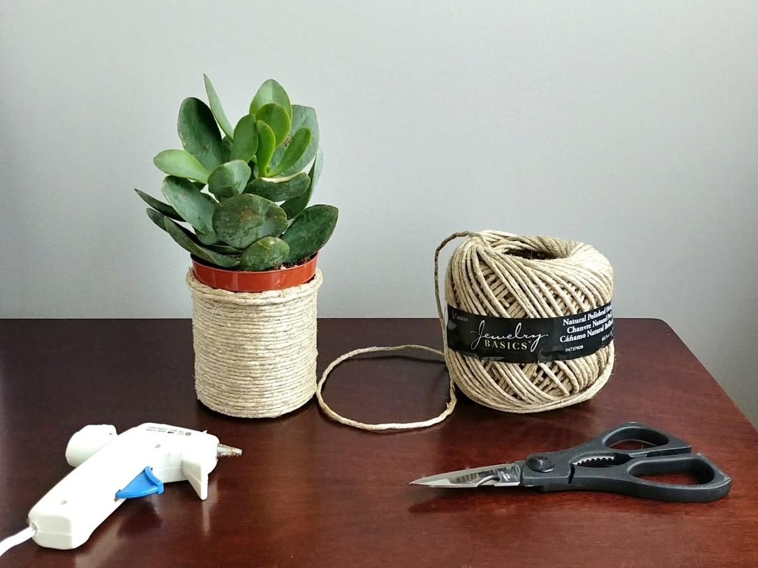 Jute Pot, Jute, Scissors, Hot Glue Gun, Succulent, DIY Pot, Upcycle, Repurpose