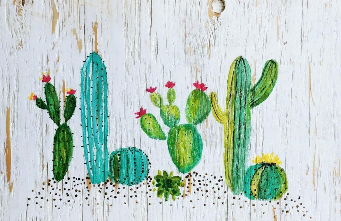 Cactus Art, Cactus, Artwork, Art, Repurposed Wood, Photo Transfer Tutorial