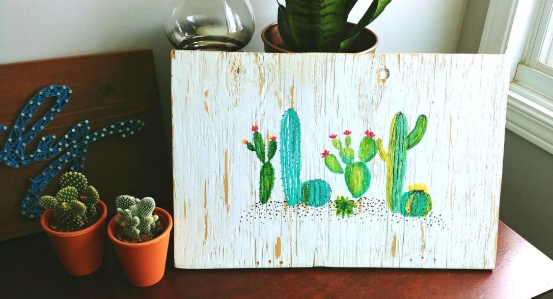 Cactus Art, Cactus, Art, Artwork, Photo Transfer Tutorial, Acrylic Paint,
