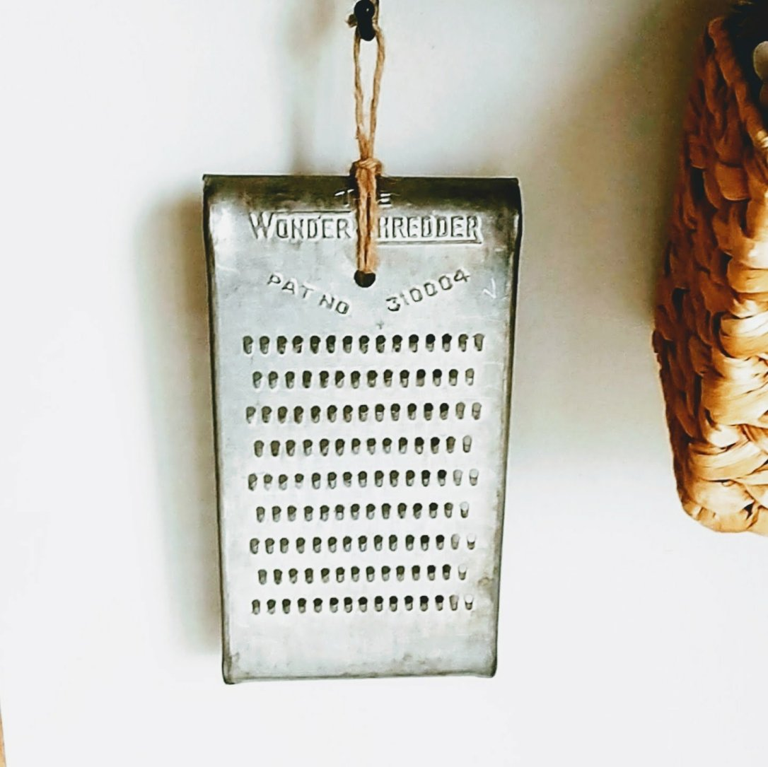 vintage, thrift store find, cheese grater, repurposed, home decor