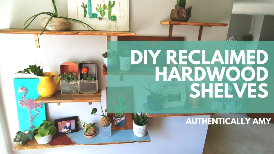 Reclaimed, shelves, hardwood, repurposed, plants